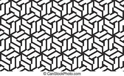 modèle, blanc, noir, géométrique