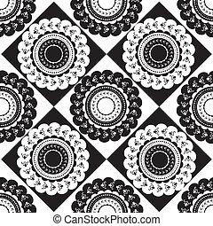 modèle, blanc, noir, rond, ornements