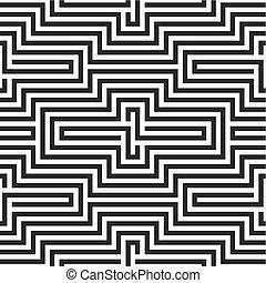 modèle, blanc, noir, zigzag