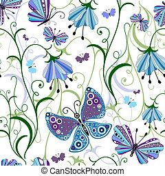 modèle, blanc, seamless, floral