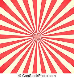 modèle, blanc, sunburst, arrière-plan rouge