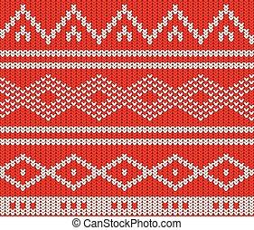 modèle, blanc, tricot, rouges