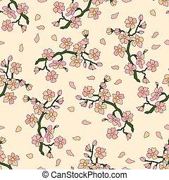 modèle, blossoms., seamless, branche, cerise