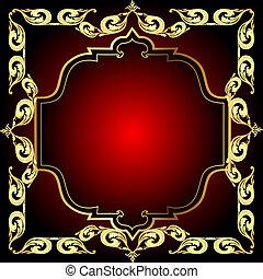 modèle, cadre, fond, or, rouges