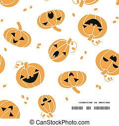 modèle, cadre, halloween, potirons, fond, coin, sourire