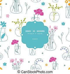 modèle, cadre, seamless, fond, vases, fleurs fraîches
