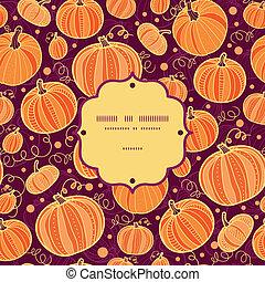 modèle, cadre, thanksgiving, seamless, potirons, fond