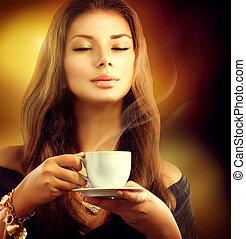 modèle, café, beauté, tasse, thé, girl, ou