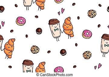 modèle, café, vecteur, seamless, bonbons