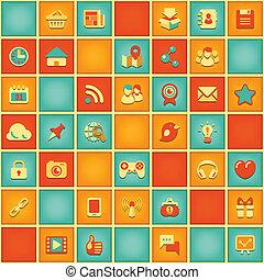 modèle, carrée, gestion réseau, social