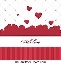 modèle, carte rouge, cœurs