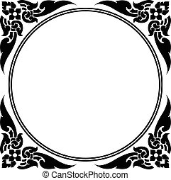 modèle, cercle, thaï, cadre