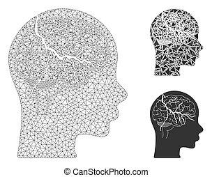 modèle, cerveau, carcasse, maille, vecteur, icône, triangle,...