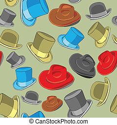 modèle, chapeaux, seamless, isolé