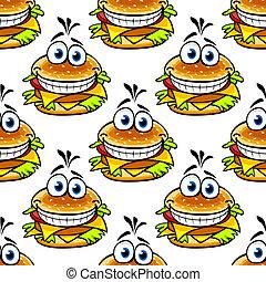 modèle, cheeseburger, seamless, dessin animé