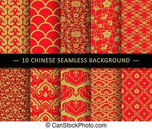 modèle, chinois, fond, collection, seamless