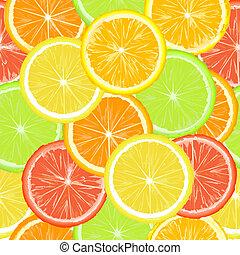 modèle, citrique, seamless, tranches