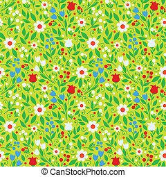 modèle, clair, fleurs, seamless, printemps