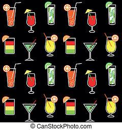 modèle, coctail, seamless, boissons