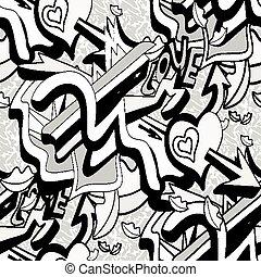 modèle coeur, lignes, seamless, illustration, vecteur, graffiti, fond, monochrome, blanc