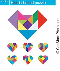 modèle coeur, puzzle, isolé, vecteur, blanc