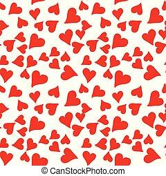 modèle coeur, seamless, valentin, day., vecteur, rouges