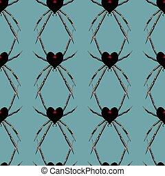 modèle coeur, valentines, araignés, seamless, forme, noir, jour, veuve