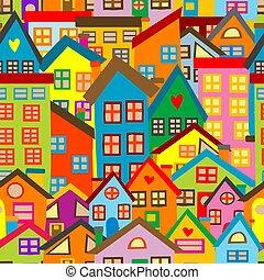 modèle, coloré, seamless, maisons, dessin animé