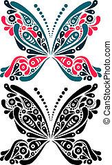 modèle, couleur, tattoo., noir, forme., papillon, artistique, version, beau, blanc