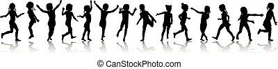modèle, course filles, seamless, silhouettes, sauter, heureux