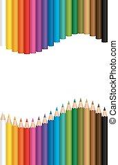 modèle, crayons, vague