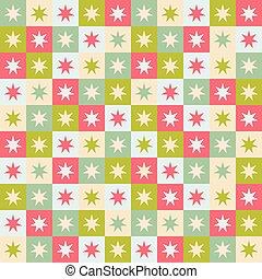 modèle, cream., géométrique, stars., carrés, seamless, reprise, noël, fête, vecteur, conception, rouge vert
