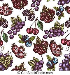 modèle, croquis, baies, seamless, fruits