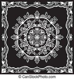 modèle, décoratif, arrière-plan noir, mandala.