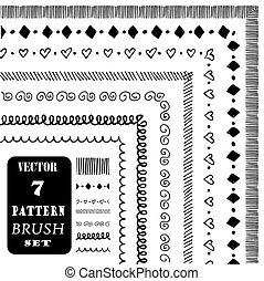 modèle décoratif, brosses, main, vecteur, dessiné