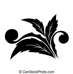 modèle décoratif, fleur, angulaire, w