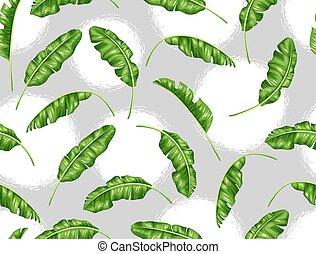 modèle décoratif, image, leaves., seamless, exotique, feuillage, banane