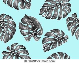 modèle décoratif, image, leaves., seamless, exotique, feuillage, monstera