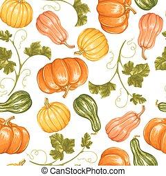 modèle décoratif, légumes, ornement, seamless, pumpkins.,...