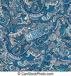 modèle décoratif, résumé, seamless, musique, doodles