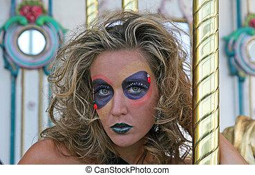 modèle, dans, maquillage, closeup