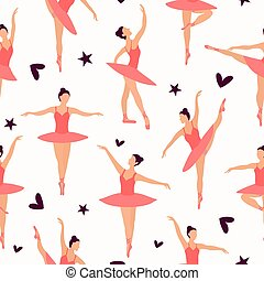 modèle, danse, blanc, pointe, silhouette, seamless, randomly, ballet, couleurs, ballerines, chaussures, ballerinas., collant, tutu, localisé, light-pink, petit, pastel, arrière-plan.