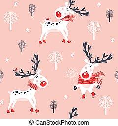 modèle, deer., noël, seamless