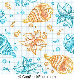 modèle, dessiné, main, starfishes, coquilles