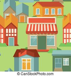 modèle, dessin animé, seamless, maisons