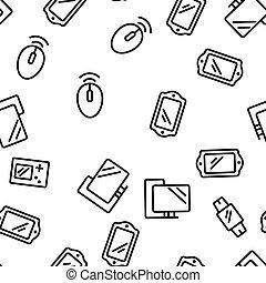 modèle, différent, vecteur, seamless, appareils