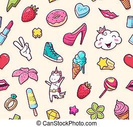 modèle, doodles, graffiti, seamless, jeune fille