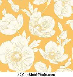 modèle, ellébore, jaune, seamless, fleurs oranges