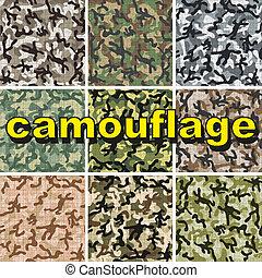 modèle, ensemble, camouflage