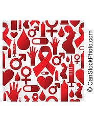 modèle, ensemble, hiv, fond, icône